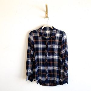 Melloday Anthropologie Navy Plaid Flannel Shirt
